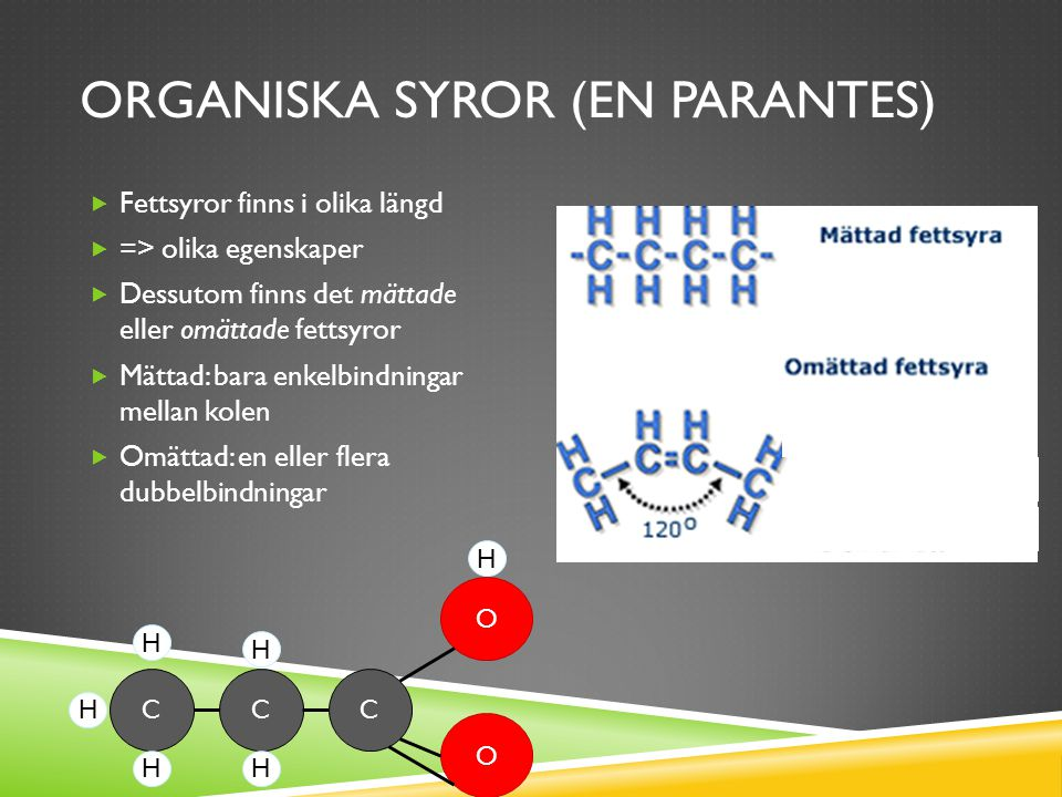 Organiska syror (en parantes)