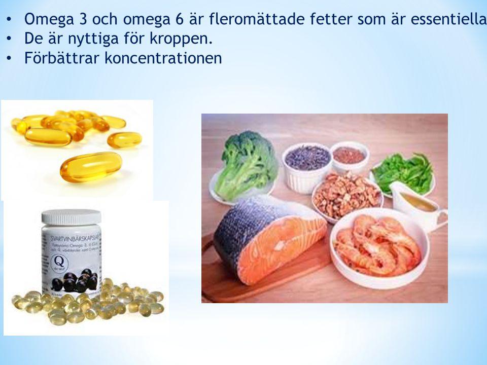 Omega 3 och omega 6 är fleromättade fetter som är essentiella