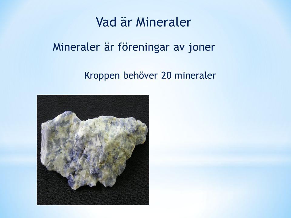 Vad är Mineraler Mineraler är föreningar av joner