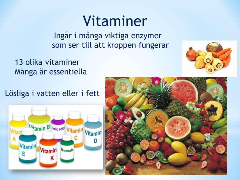 Vitaminer Ingår i många viktiga enzymer