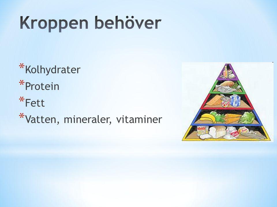 Kroppen behöver Kolhydrater Protein Fett Vatten, mineraler, vitaminer