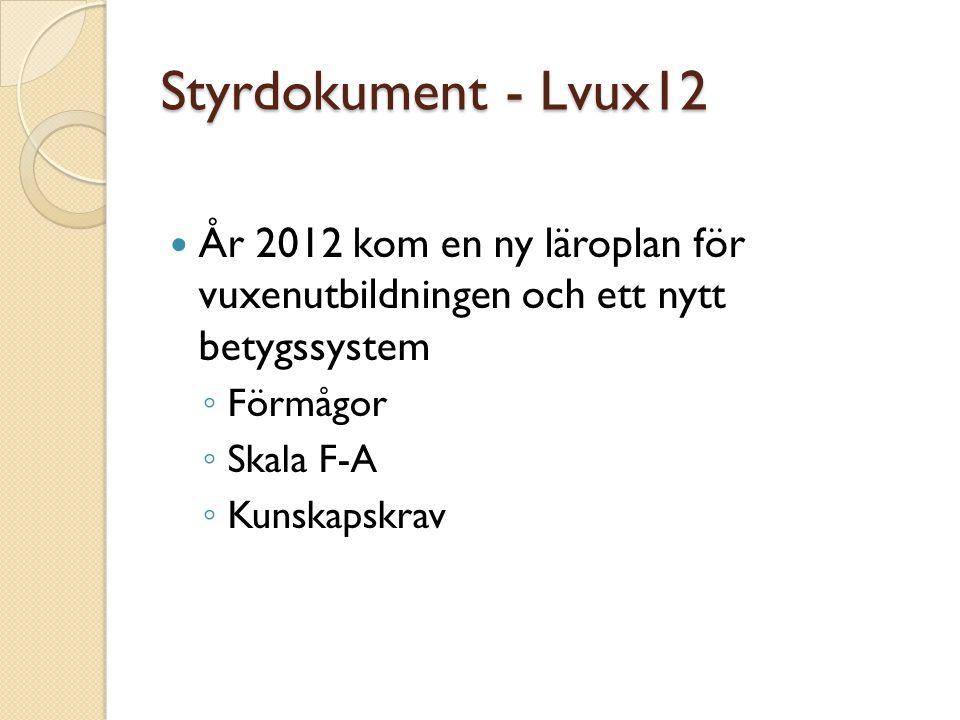 Styrdokument - Lvux12 År 2012 kom en ny läroplan för vuxenutbildningen och ett nytt betygssystem.