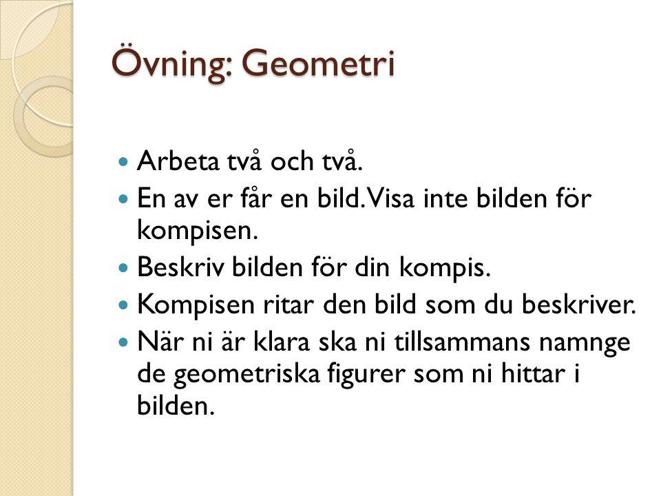 Övning: Geometri Arbeta två och två.
