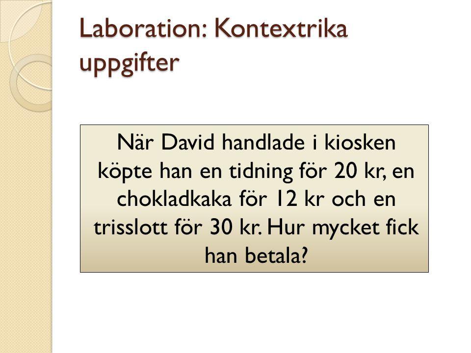 Laboration: Kontextrika uppgifter