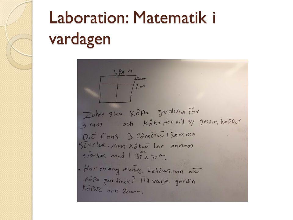 Laboration: Matematik i vardagen
