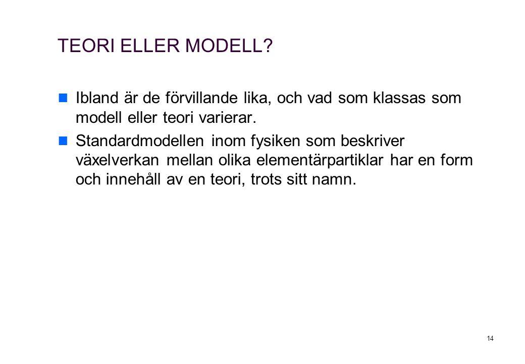 TEORI ELLER MODELL Ibland är de förvillande lika, och vad som klassas som modell eller teori varierar.
