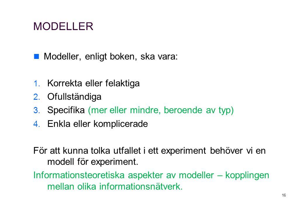 MODELLER Modeller, enligt boken, ska vara: Korrekta eller felaktiga