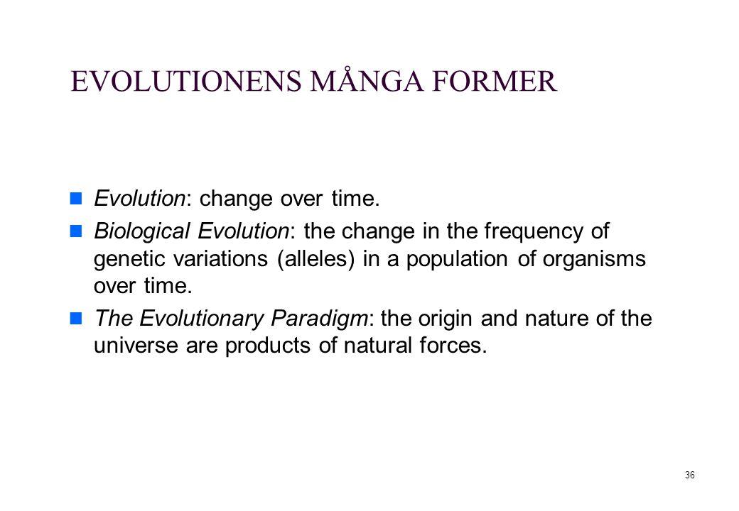 EVOLUTIONENS MÅNGA FORMER