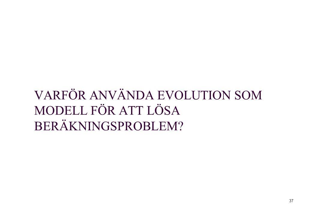 VARFÖR ANVÄNDA EVOLUTION SOM MODELL FÖR ATT LÖSA BERÄKNINGSPROBLEM