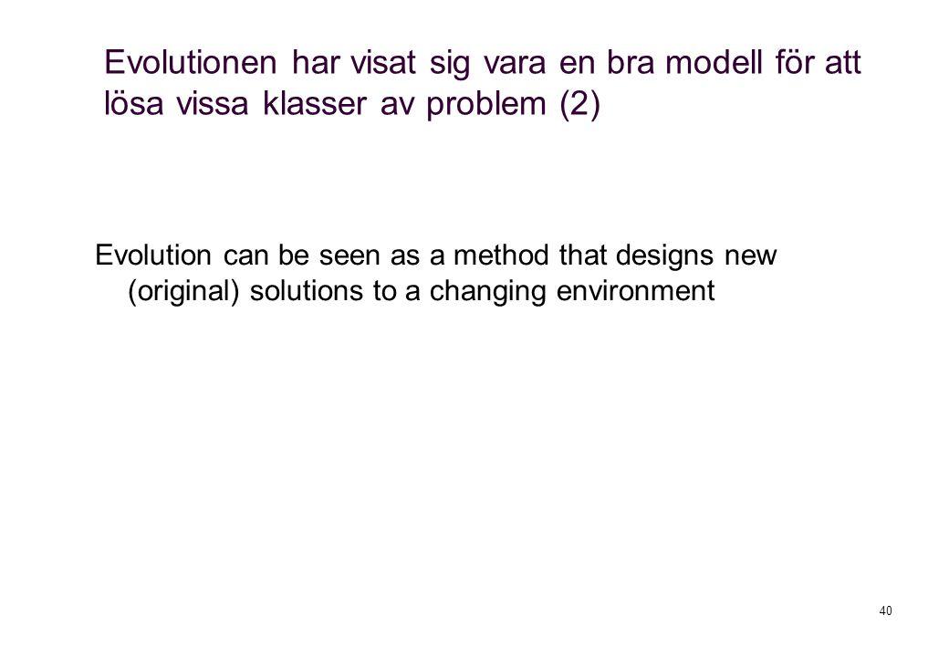 Evolutionen har visat sig vara en bra modell för att lösa vissa klasser av problem (2)
