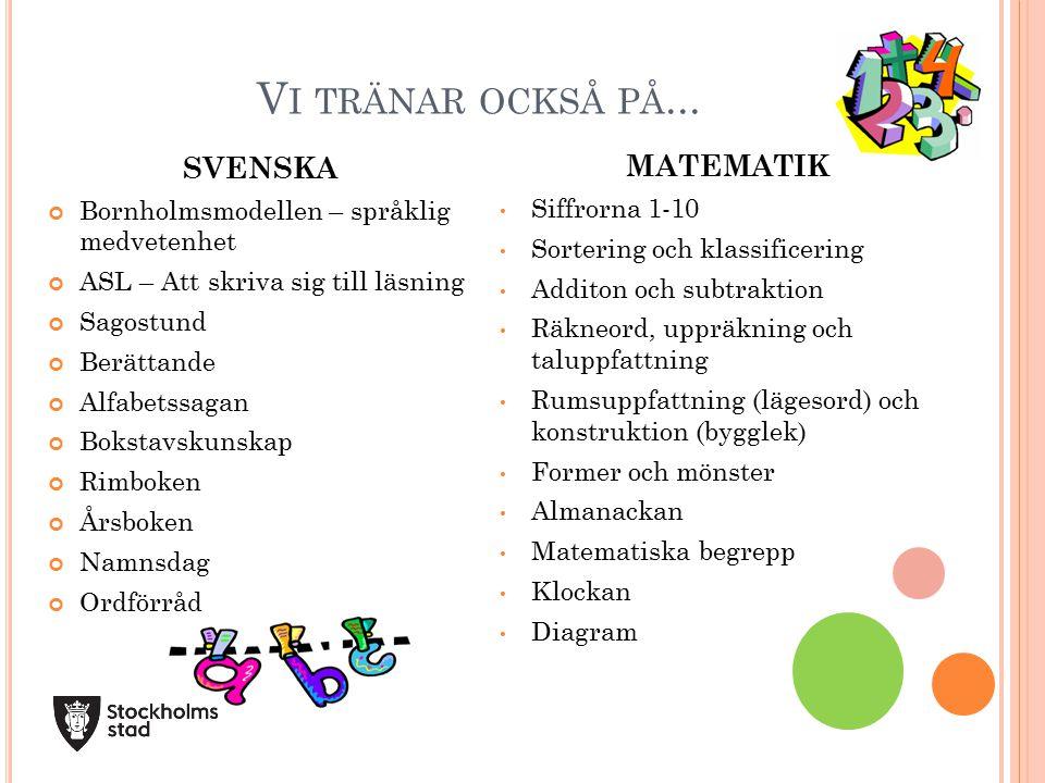 Vi tränar också på... MATEMATIK SVENSKA Siffrorna 1-10