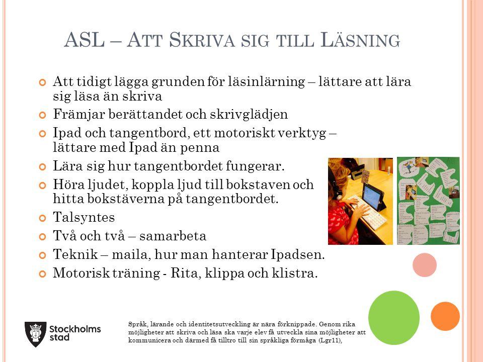 ASL – Att Skriva sig till Läsning