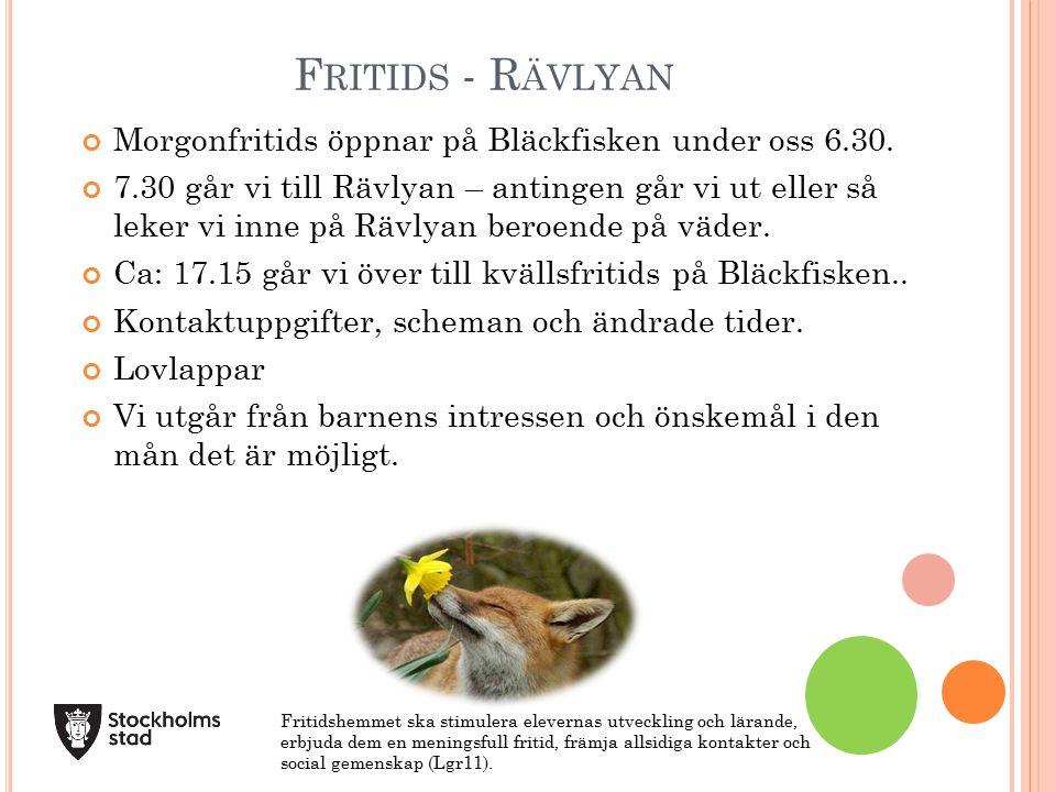 Fritids - Rävlyan Morgonfritids öppnar på Bläckfisken under oss 6.30.