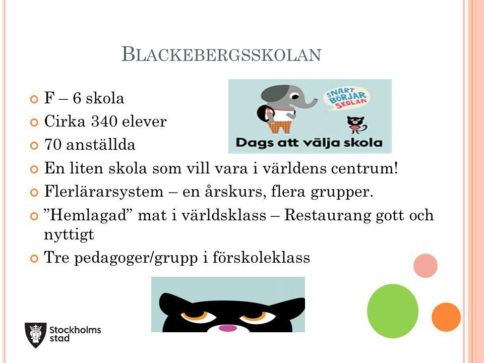 Blackebergsskolan F – 6 skola Cirka 340 elever 70 anställda