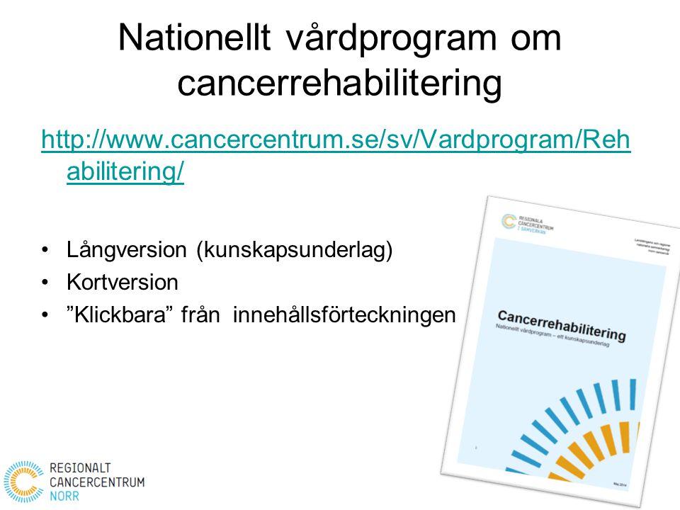 Nationellt vårdprogram om cancerrehabilitering