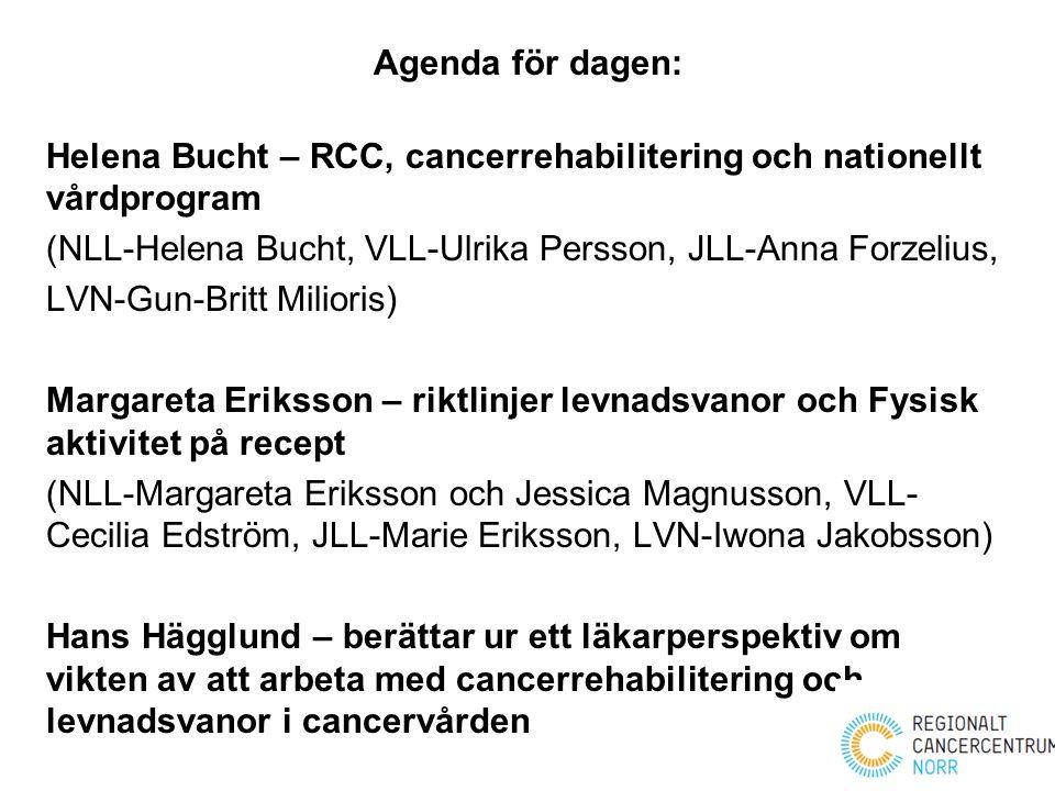 Agenda för dagen: Helena Bucht – RCC, cancerrehabilitering och nationellt vårdprogram. (NLL-Helena Bucht, VLL-Ulrika Persson, JLL-Anna Forzelius,