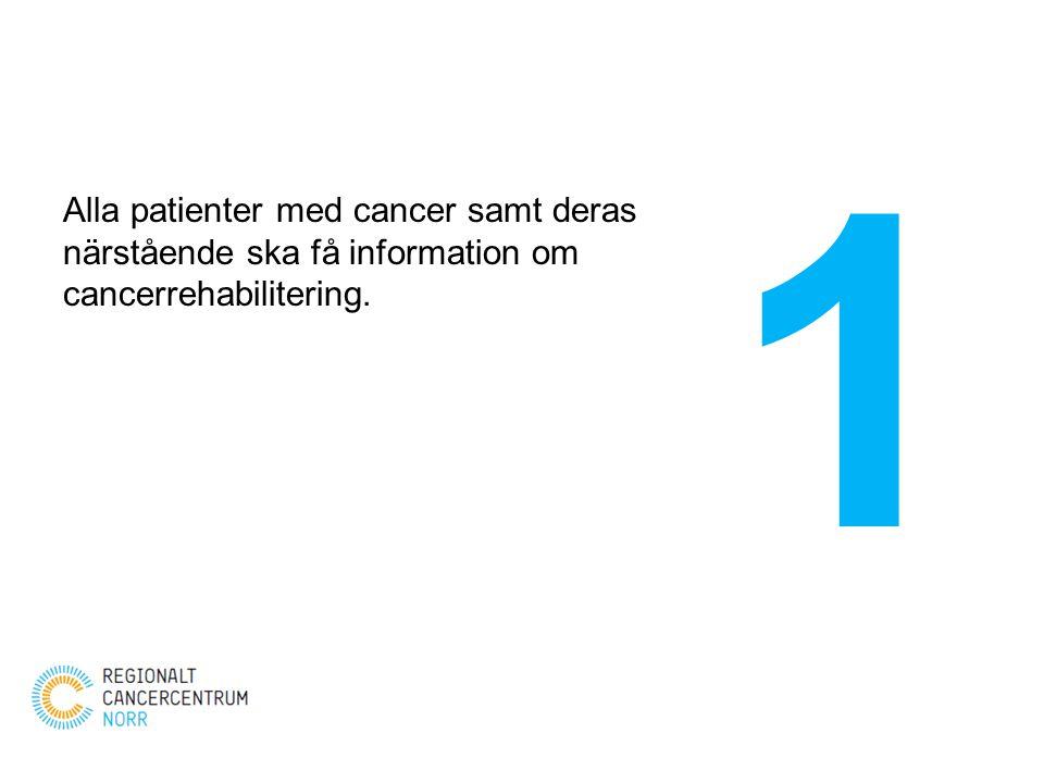 1 Alla patienter med cancer samt deras närstående ska få information om cancerrehabilitering.