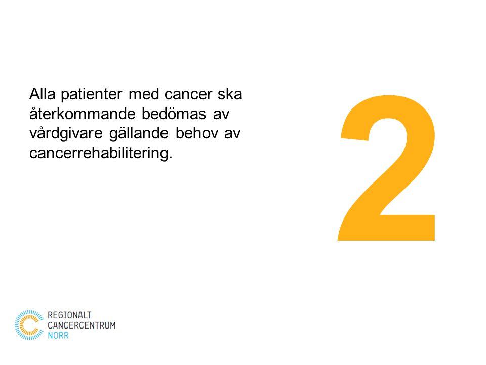 2 Alla patienter med cancer ska återkommande bedömas av