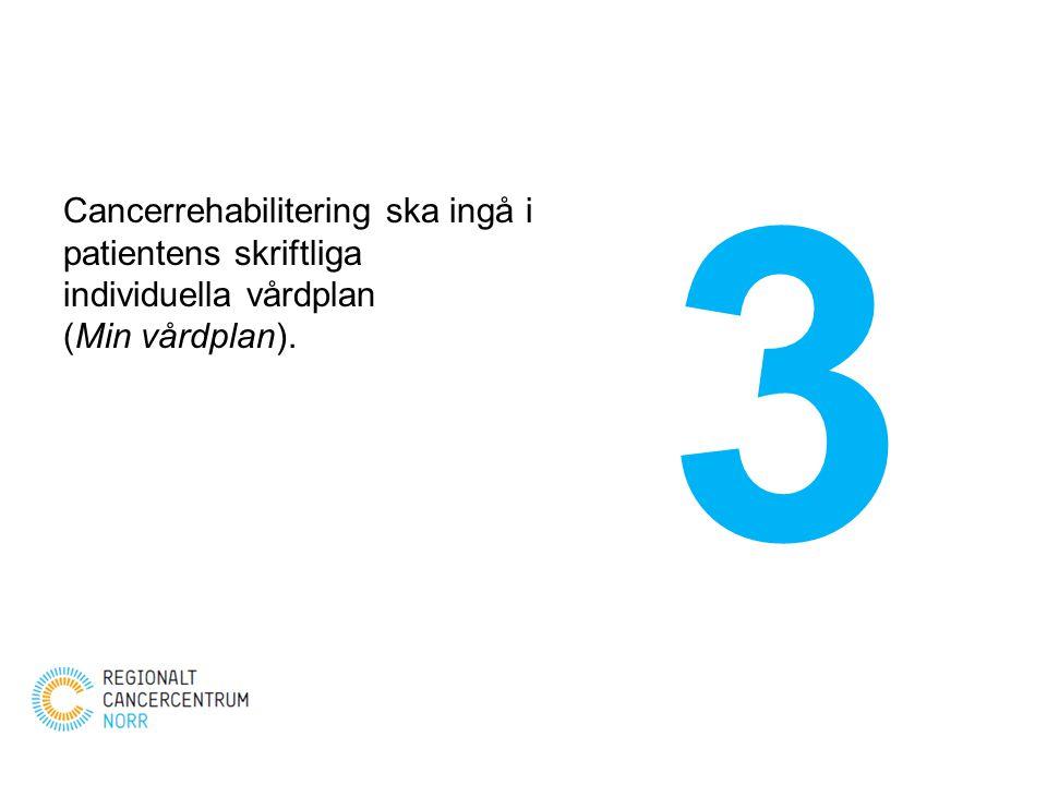 3 Cancerrehabilitering ska ingå i patientens skriftliga individuella vårdplan (Min vårdplan).