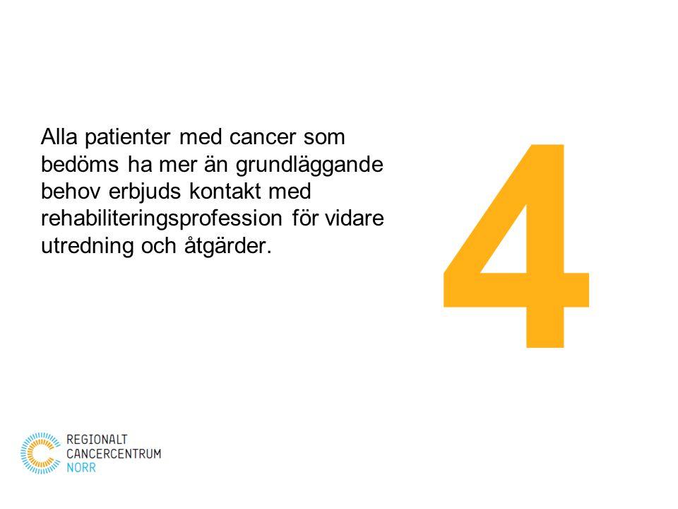 4 Alla patienter med cancer som bedöms ha mer än grundläggande behov erbjuds kontakt med rehabiliteringsprofession för vidare utredning och åtgärder.