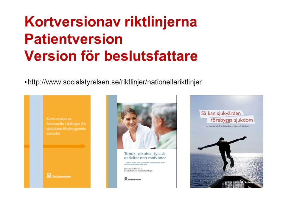 Kortversionav riktlinjerna Patientversion Version för beslutsfattare
