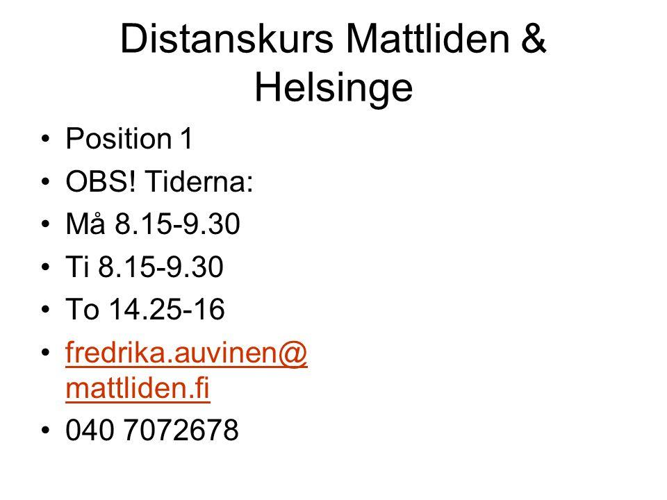 Distanskurs Mattliden & Helsinge