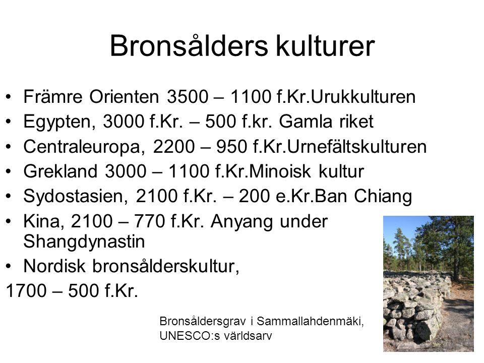 Bronsålders kulturer Främre Orienten 3500 – 1100 f.Kr.Urukkulturen