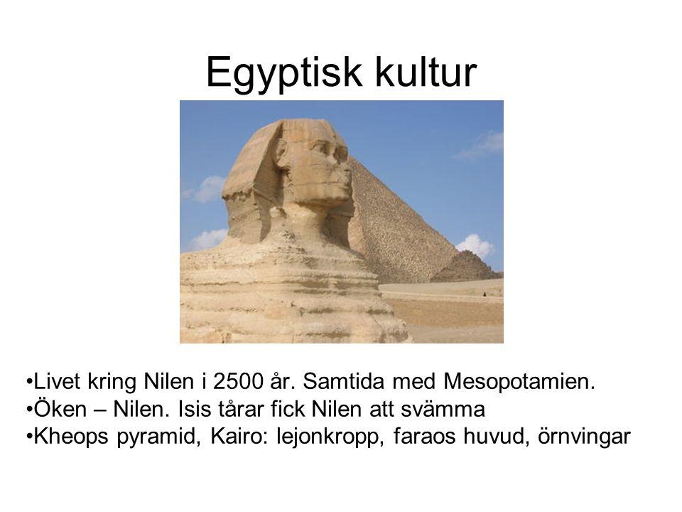 Egyptisk kultur Livet kring Nilen i 2500 år. Samtida med Mesopotamien.