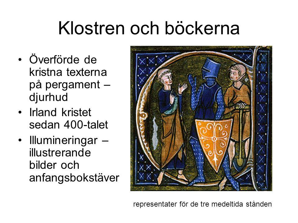 Klostren och böckerna Överförde de kristna texterna på pergament – djurhud. Irland kristet sedan 400-talet.