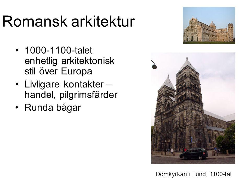 Romansk arkitektur 1000-1100-talet enhetlig arkitektonisk stil över Europa. Livligare kontakter – handel, pilgrimsfärder.