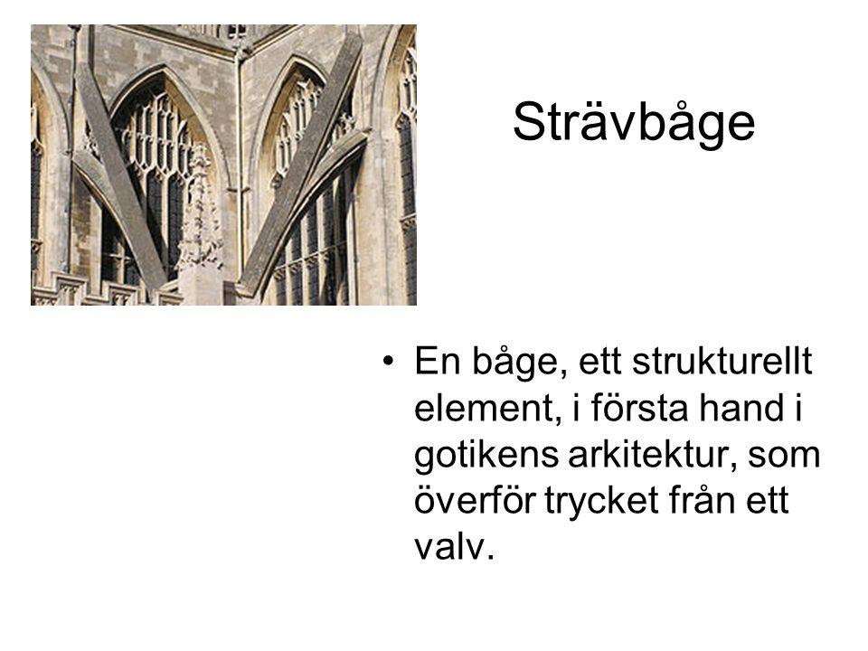 Strävbåge En båge, ett strukturellt element, i första hand i gotikens arkitektur, som överför trycket från ett valv.