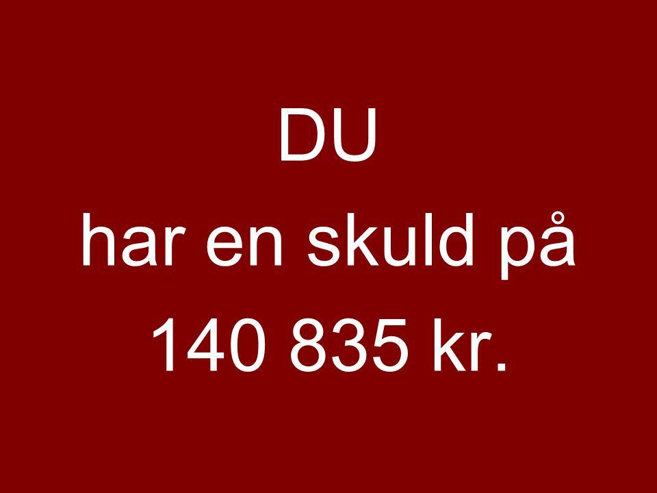 DU har en skuld på 140 835 kr.