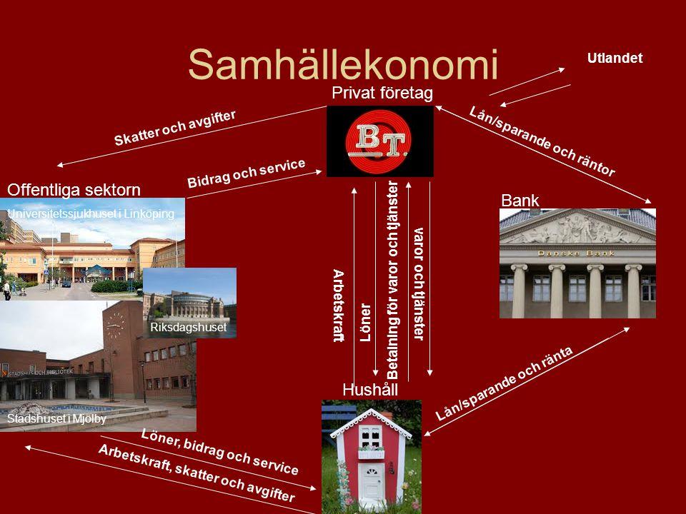 Samhällekonomi Privat företag Offentliga sektorn Bank Hushåll Utlandet