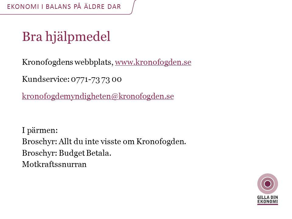 Bra hjälpmedel Kronofogdens webbplats, www.kronofogden.se