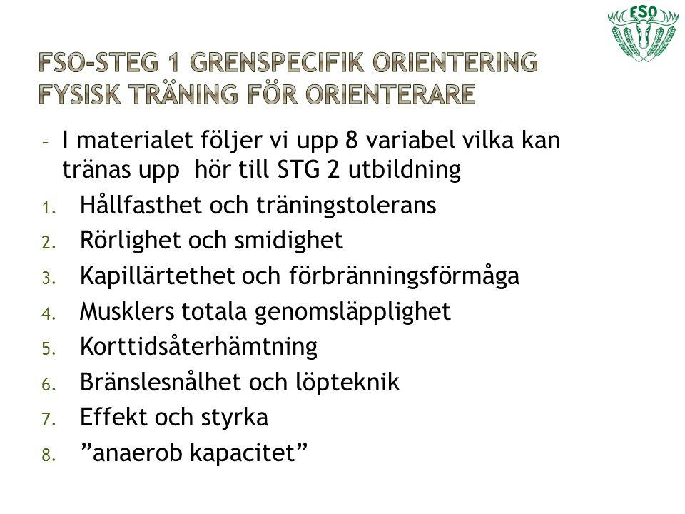 FSO-Steg 1 grenspecifik orientering Fysisk träning för orienterare