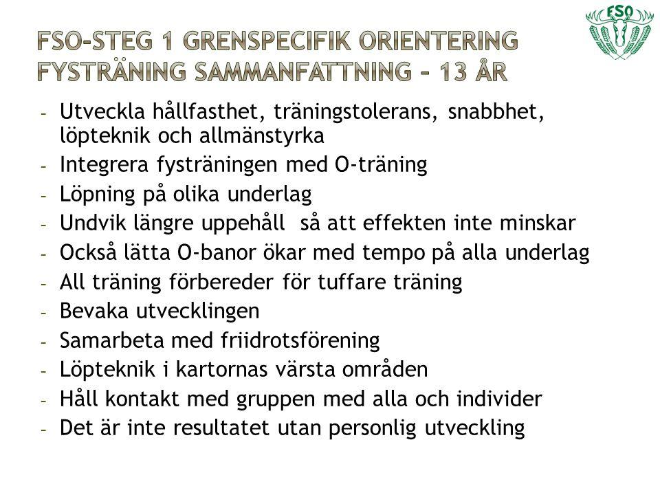 FSO-Steg 1 grenspecifik orientering fysträning Sammanfattning – 13 år