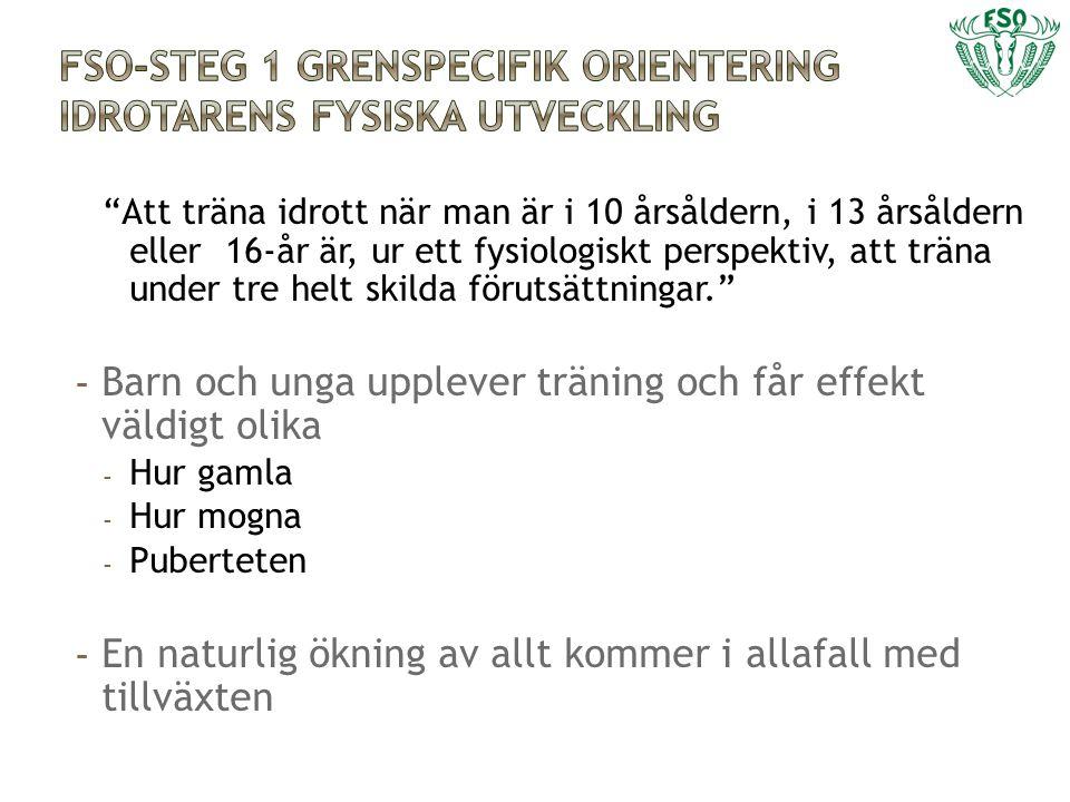 FSO-Steg 1 grenspecifik orientering idrotarens fysiska utveckling