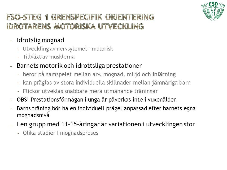 FSO-Steg 1 grenspecifik orientering idrotarens motoriska utveckling
