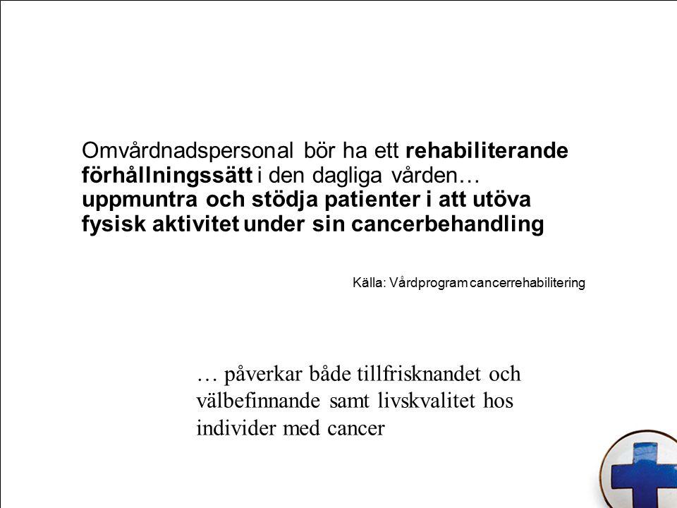 Källa: Vårdprogram cancerrehabilitering