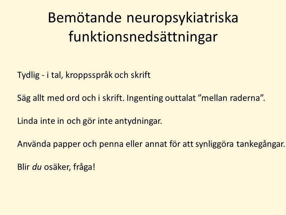 Bemötande neuropsykiatriska funktionsnedsättningar