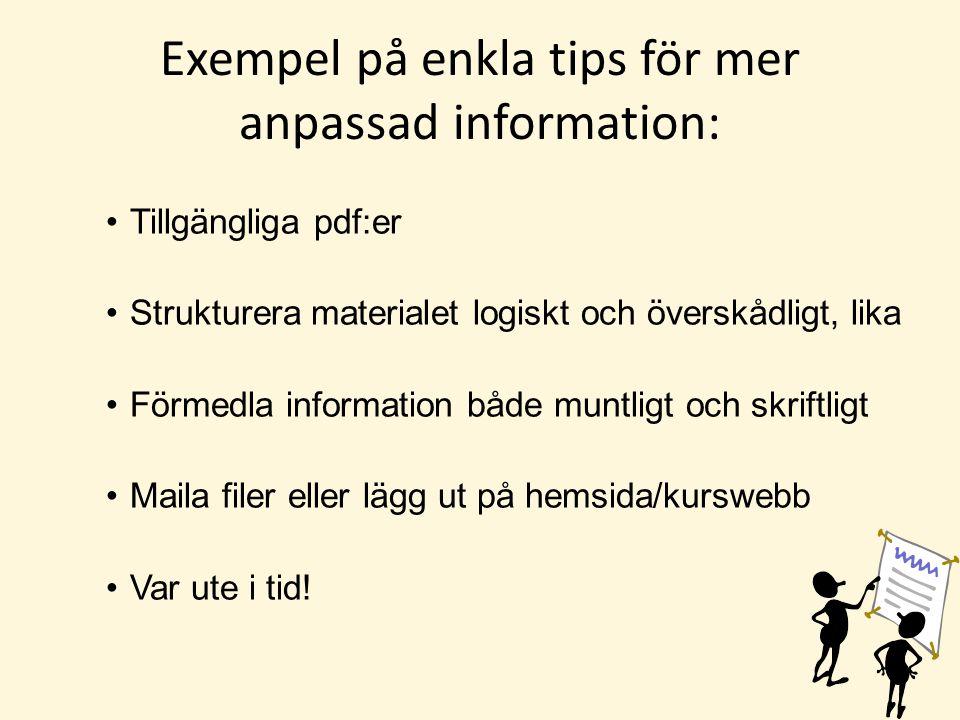 Exempel på enkla tips för mer anpassad information: