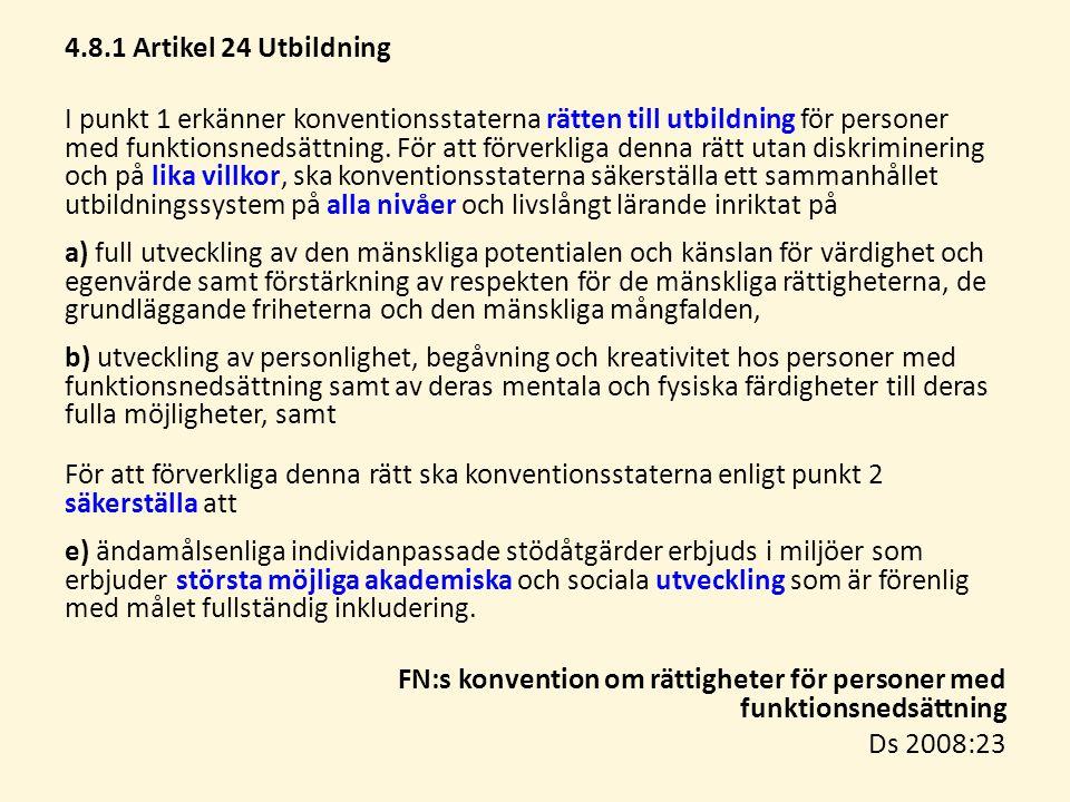 4.8.1 Artikel 24 Utbildning