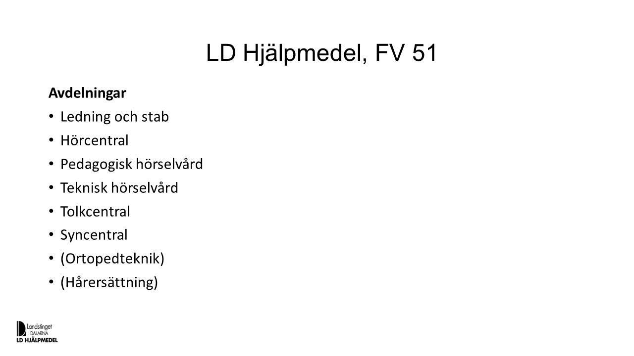 LD Hjälpmedel, FV 51 Avdelningar Ledning och stab Hörcentral