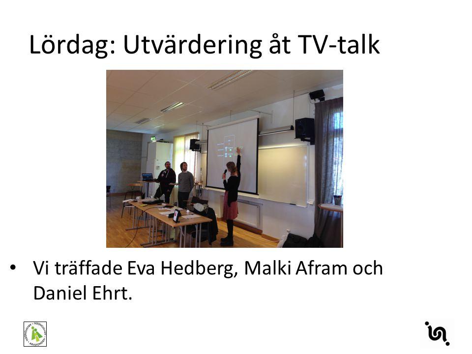 Lördag: Utvärdering åt TV-talk