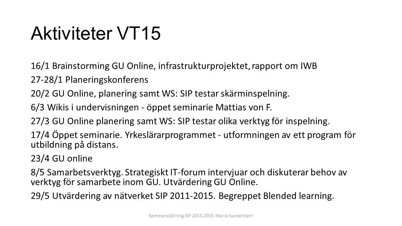 Sammanställning SIP 2011-2015 Maria Sunnerstam