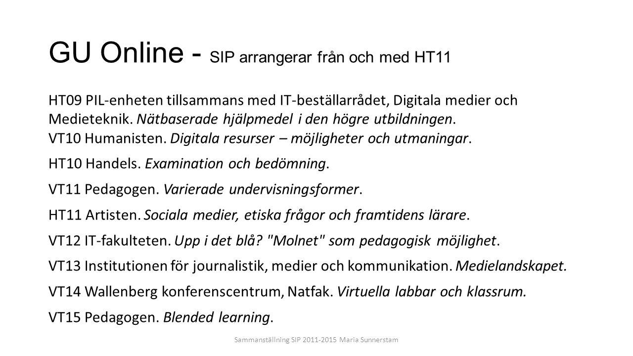 GU Online - SIP arrangerar från och med HT11