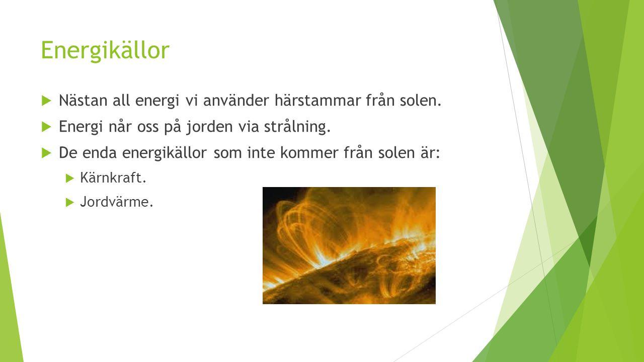 Energikällor Nästan all energi vi använder härstammar från solen.