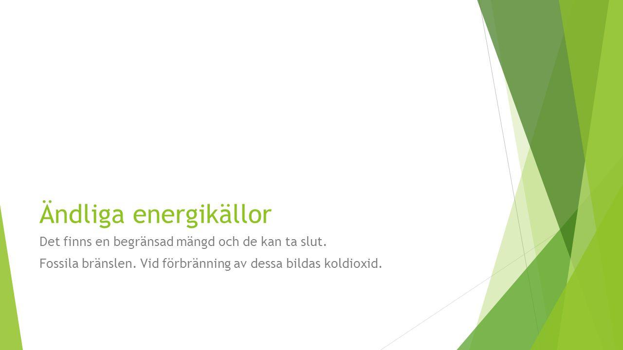 Ändliga energikällor Det finns en begränsad mängd och de kan ta slut.