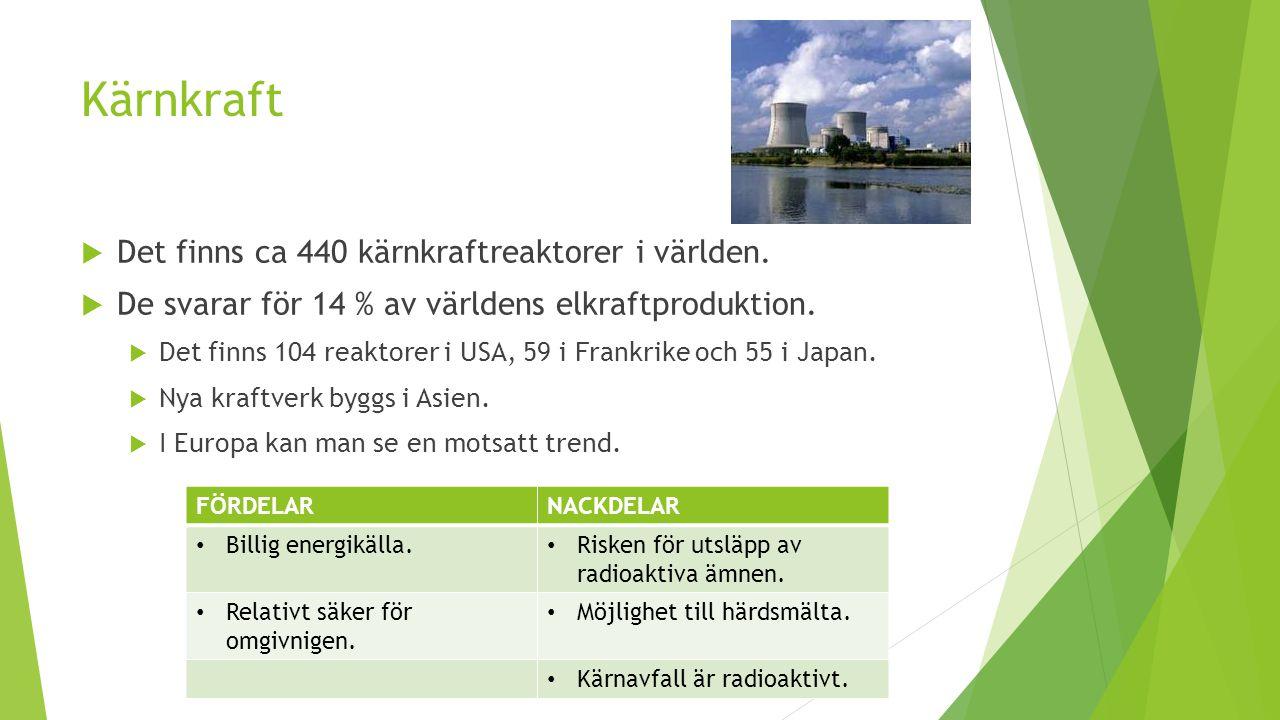 Kärnkraft Det finns ca 440 kärnkraftreaktorer i världen.