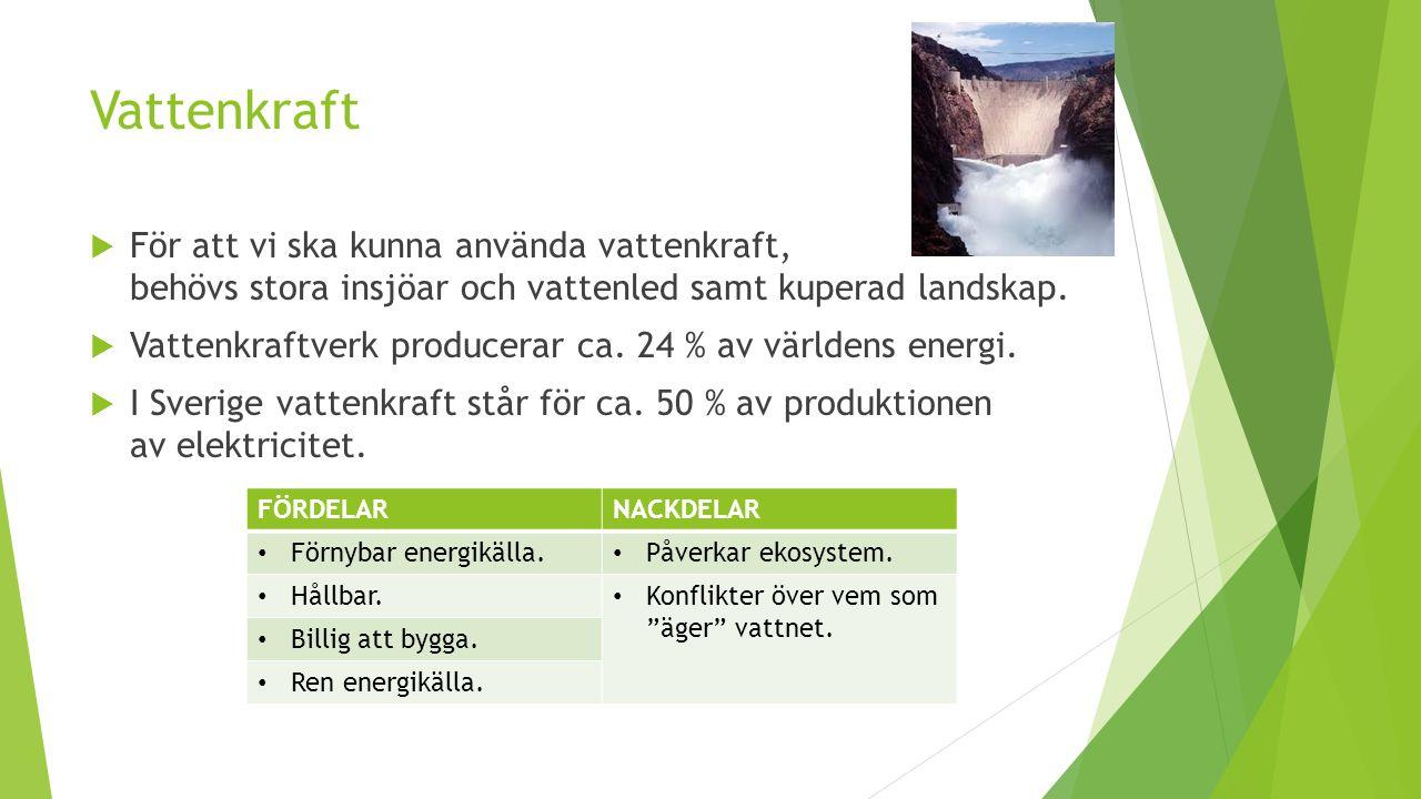 Vattenkraft För att vi ska kunna använda vattenkraft, behövs stora insjöar och vattenled samt kuperad landskap.